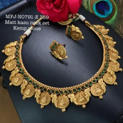 Red Stoned With Matt Balls Lakshmi With Kasu Kemp Design Matte Plated Finished Neck Set Buy Online