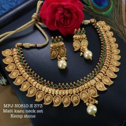 Ruby,Emerald Stoned With Pearl Lakshmi With Kasu Mango Kemp Design Matte Plated Finished Neck Set Buy Online