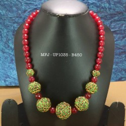 Green & Red Colour Beads With Golden Colour Polished Kempu Stones Balls Chain Buy Online