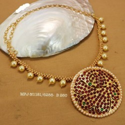 Kemp stone Jadabilla With Pearls Chain Designed Gold Plated finish Necklace  Buy Online