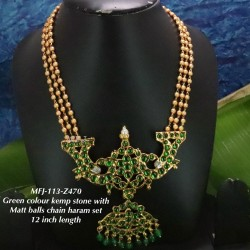 Kemp stone With Pearls Sun & Moon With Pearls Lined Designed Gold Plated finish Haram Set Buy Online