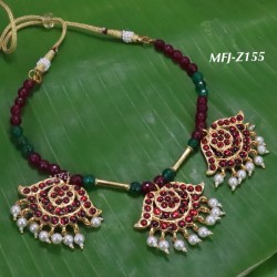 Blue Stones With Pearls And Blue Beats Flower Designed Gold Plated finish Necklas Set Buy Online
