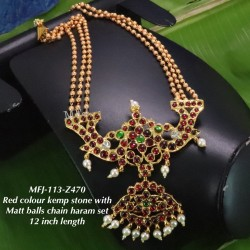 Green Stones&Beats With Matte Three Lined Balls Chain Designed Gold With Matte Plated finish Haram Set Buy Online