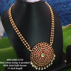 Blue,Green Stones With Pearls Matte Two Lined Balls Chain Designed Gold With Matte Plated finish Haram Set Buy Online