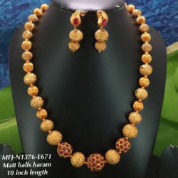 Ruby,Emerald Stoned With Golden Matte Balls And Flower Design Mat Plated Finished Haram Set Buy Online