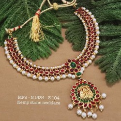 High Quality Red & Green V Cut Thilagam Stones With Pearls Lakshmi With Flower Design Necklace Set Buy Online
