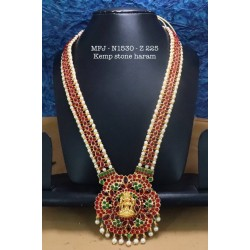 High Quality Red & Green V Cut Thilagam Stones With Pearls Lakshmi With Flower Design Haram Set Buy Online