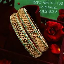 2.6 Size Emerald Stoned Design Gold Plated Finish Set Bangles Buy Online