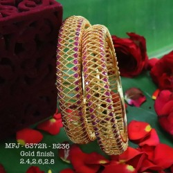 2.6 Size Ruby Stoned Design Gold Plated Finish Set Bangles Buy Online
