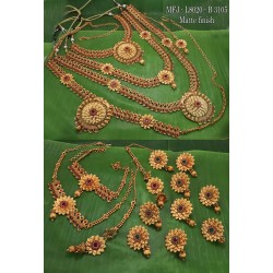 Ruby Stone With Mat Balls Flower,Mango With Peacock Design Matte Finished Full(Combo) Bridal Set  Buy Online