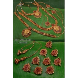 Ruby,Emerald Stone With Mat Balls Flower,Mango With Peacock Design Matte Finished Full(Combo) Bridal Set  Buy Online