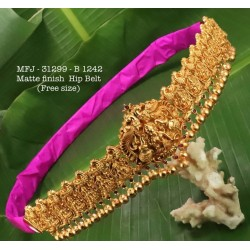 Ruby,Emerald  Stones With Pearls Drops Traditional Lakshmi&Elephant Design Mat Finish Hip Belt For Free Size Buy Online