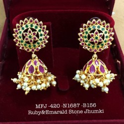 CZ,Black Stones With Pearls Flower& Jumka Design Gold Finish Earrings Set Buy Online