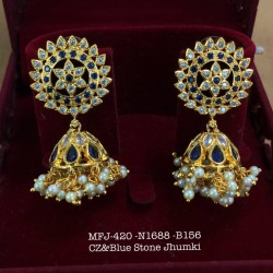Ruby,Emerald Stones With Pearls Flower& Jumka Design Gold Finish Earrings Set Buy Online
