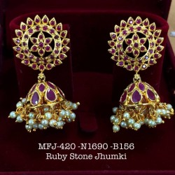 CZ,Blue Stones With Pearls Flower& Jumka Design Gold Finish Earrings Set Buy Online