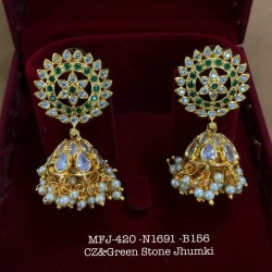 Ruby Stones With Pearls Flower& Jumka Design Gold Finish Earrings Set Buy Online