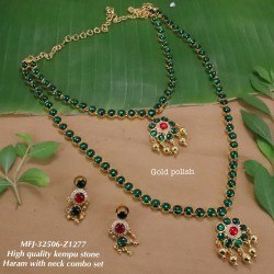 High Quality Kempu & CZ Stones Thilakam & Flowers Design Single Line Necklace Set For Bharatanatyam Dance And Temple Buy Online