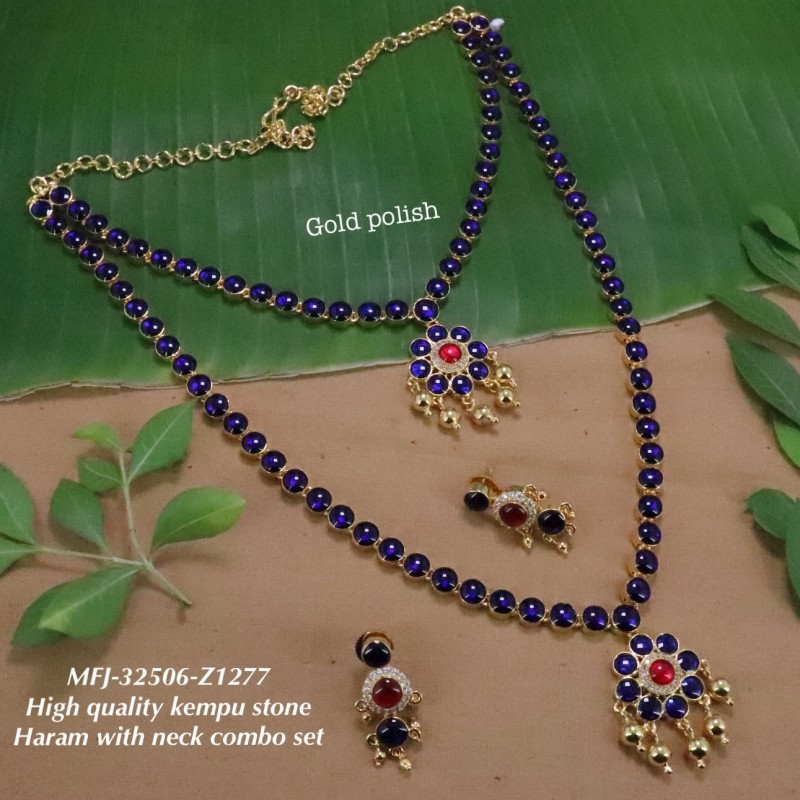 High Quality Kempu & CZ,Ruby&Emerald With Golden Balls Flowers Combo Design Dance Set Buy Online