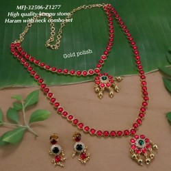 High Quality Kempu & CZ,Ruby&Blue With Golden Balls Flowers Combo Design Dance Set Buy Online