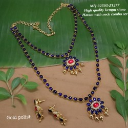 High Quality Kempu & Blue,CZ&Emerald With Golden Balls Flowers Combo Design Dance Set Buy Online