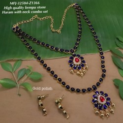 High Quality Kempu & Emerald,CZ&Ruby With Golden Balls Flowers Combo Design Dance Set Buy Online