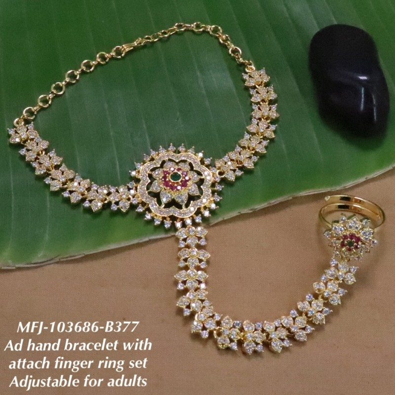 CZ,Ruby&Emerald Stones Peacock With Flower Design Gold Finish Bracelet With Attached Ring Set Buy Online