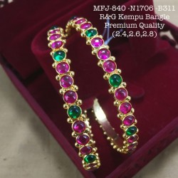 2.6 Size High Quality Red&Green Stoned Kempu Bamgle Design Gold Plated Finish Set Bangles Buy Online