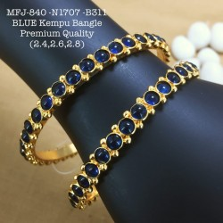 2.6 Size High Quality Blue Stoned Kempu Bamgle Design Gold Plated Finish Set Bangles Buy Online