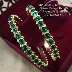 2.6 Size High Quality Green Stoned Kempu Bamgle Design Gold Plated Finish Set Bangles Buy Online