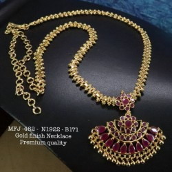 Premium Quality Ruby,Emerald Stones With Golden Balls Chain&Pendent Design Gold Finish Necklace Set Buy Online