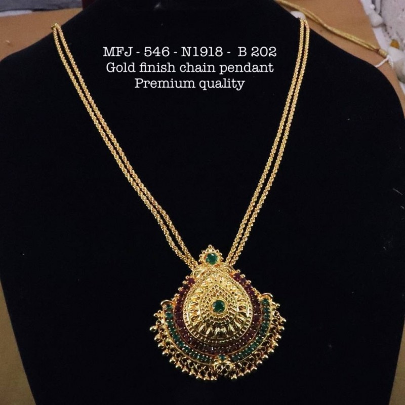 3231665fec35e Premium Quality Ruby,Emerald Stones Golden Balls With Chain & Pendent  Design Gold Finish Necklace Set Buy Online