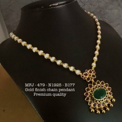 Premium Quality Ruby,Stones Pearl With Golden Balls With Chain & Pendent Design Gold Finish Necklace Set Buy Online