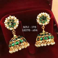 Three Layer Green Stones With Pearls Design Jumka For Bharatanatyam Dance And Temple Buy Online