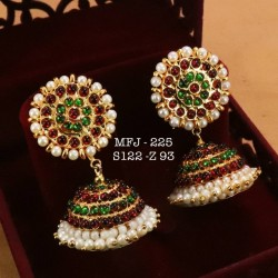 Kempu Red,Green Stones With Pearls Design Big Jumka For Bharatanatyam Dance And Temple Buy Online