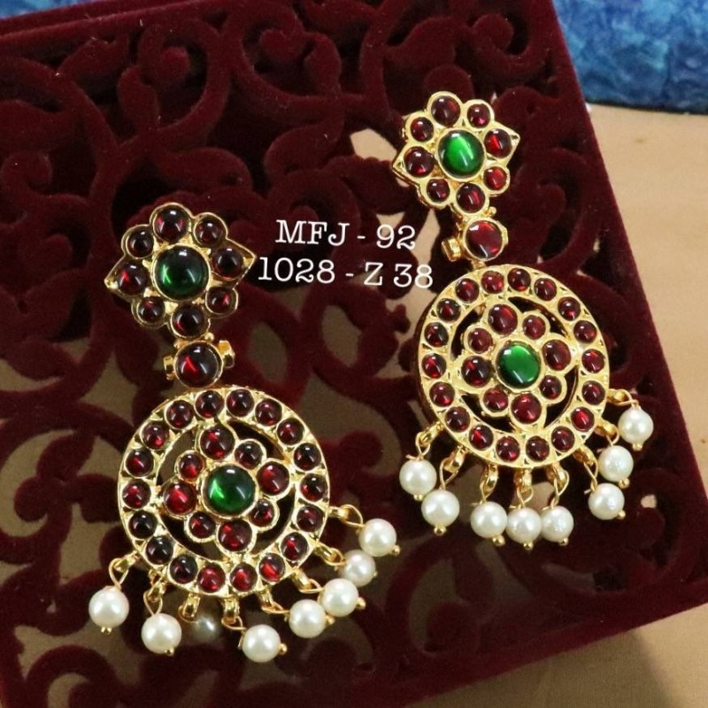Kemp Red Green Stones With Pearls Hanging Type Earrings Design For Bharatanatyam Dance And Temple Online