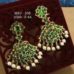 Kemp Red,Green Stones With Pearls Hanging Type Earrings Design For Bharatanatyam Dance And Temple Buy Online