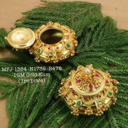 Ruby&Emerald Stoned With Pearls Flower Design 1 Gr Gold Finished Kum Kum Stand Set Online