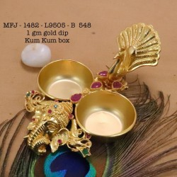 Ruby&Emerald Stoned Lakshmi&Flower Design 1 Gr Gold Finished Kum Kum Stand Set Online