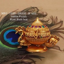 Ruby&Emerald Stoned Elephant&peacock Design 1 Gr Gold Finished Kum Kum Stand Set Online