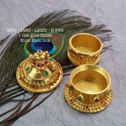 Ruby&Emerald Stoned With Pearls Peacock&Mango Flower Design 1 Gr Gold Finished Kum Kum Stand Set Online