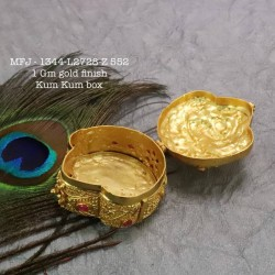 Ruby&Emerald Stoned Mango Flower Two Steps Design 1 Gr Gold Finished Kum Kum Stand Set Online