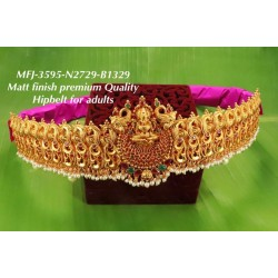 Ruby,Emerald Stones With Matte Traditional Lakshmi With Peacocks Design Matte Finish Hip Belt Free Sized Set Buy Online