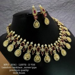 CZ,Ruby&Emerald Stones With Pearls Kasu Lakshmi&Flower,Hanging Type Earrings Design Gold Finish Necklace Set Buy Online