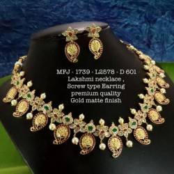 CZ,Ruby&Emerald Stones With Pearls Peacock With Flower,Screw Type Earrings Design Gold Mat Finish Necklace Set Buy Online