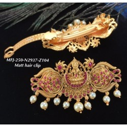 Ruby Stones With Pearls Peacock Design Matte Finish Hair Clip Buy Online