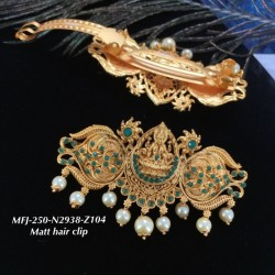 Ruby Stones With Pearls Traditional Lakshmi&Peacock Design Matte Finish Hair Clip Buy Online