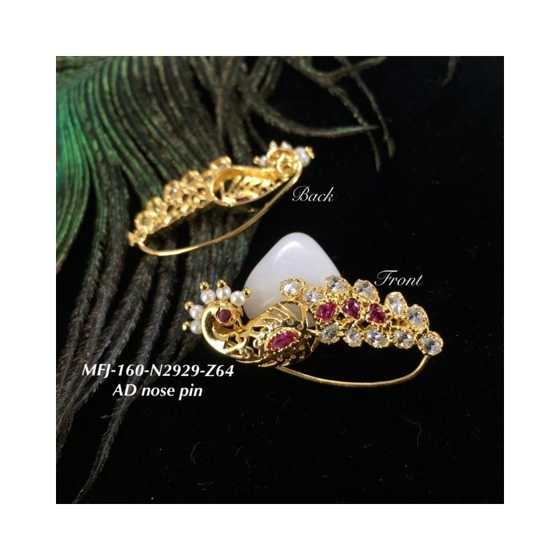 CZ & Ruby Stones Peacock Design Gold Plated Finish Nose Pin Buy Online
