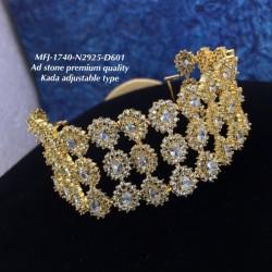 Ruby Three Lined AD Stone Flowers Design Gold Plated Finish Kada Adjustble Bracelet Buy Online