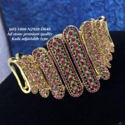 Ad(CZ)Three Lined AD Stone Flowers Design Gold Plated Finish Kada Adjustble Bracelet Buy Online