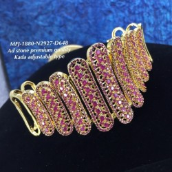 Premium Quality Ruby,Emerald Stoned Steps Design Gold Plated Finish Kada Adjustble Bracelet Buy Online